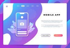 Page mobile d'atterrissage d'appli Plate-forme d'ui de site Web, bannière d'affaires, ouverture de smartphone de page Web Dévelop photo libre de droits