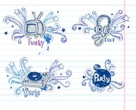 Page of music doodles, Royalty Free Stock Images