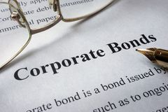 Page of newspaper with words corporate bonds. royalty free stock images
