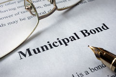 Page of newspaper with words municipal bonds. Royalty Free Stock Image