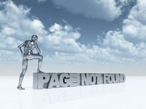 Page not found. Man with one foot on the text page not found - 3d illustration Royalty Free Stock Photo