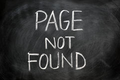 Page not found. Written in chalk on blackboard stock images