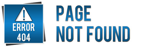 404 Page Not Found - Blue Banner. Banner image with 404 not found text and related graphics royalty free illustration
