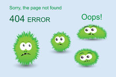 Page not found, 404 error. With funny green monsters Stock Images