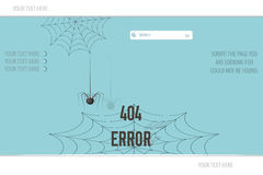 Page Not Found Error 404,  illustration spider and cobweb Stock Photos