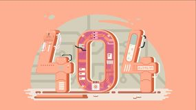 Page not found error 404 vector concept with robots and machinery. Web page error, illustration mechanical mechanism page error Royalty Free Stock Images