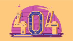 Page not found error 404 vector concept with robots and machinery. Web page error, illustration mechanical mechanism page error Royalty Free Stock Image
