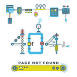 Page not found error 404 vector concept with robots and machinery. Web page error, illustration mechanical mechanism page error Stock Image