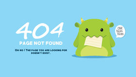 Page not found with monster eat the illustration Stock Photography