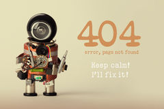 Page not found template for website. Robot toy repairman with screwdriver and 404 error warning message Keep calm I will Royalty Free Stock Photography