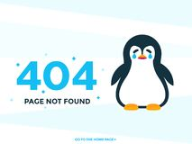 404 page not found vector with crying pinguin stock illustration