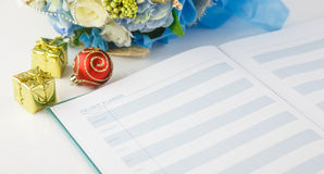 Page of notebook show new year planning Royalty Free Stock Photos