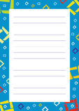 A page of notepad with decorative frame Royalty Free Stock Photography