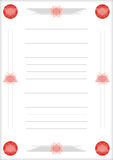 A page of notepad with decorative frame Stock Photography