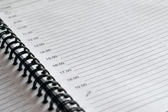Page of a notepad with the rings. Blank page of a notepad with the rings close-up Stock Photo