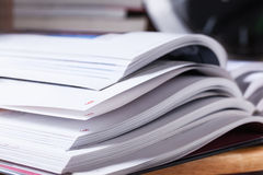 Page number of open book on desk Stock Photography