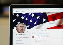 Page officielle de compte de Twitter de Donald Trump Photographie stock