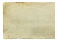 Page of old squared paper. Isolated on white royalty free stock photos