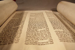 Old Torah. An old Torah with Hebrew text Royalty Free Stock Photography