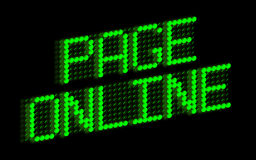 Page Online. Digital green panel sign royalty free illustration