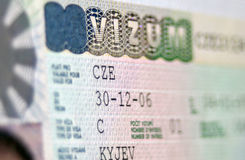 Page of passport with Czech Republic national visa Stock Photos