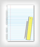 Page and pencil ruler Royalty Free Stock Photography