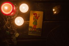 Tarot card. Future reading. Divination. Page of pentacles Tarot card. Fortune teller royalty free stock photos