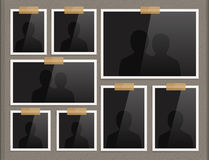 Page of photo album. Frames attached to the paper with scotch tape. Royalty Free Stock Photography