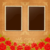 Page of photo album. Vintage background with old paper, photoframe, and red roses. Royalty Free Stock Photo