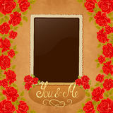 Page of photo album. Vintage background with old paper, photoframe, and red roses. Stock Photography