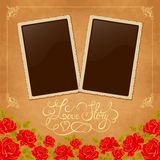 Page of photo album. Vintage background with old paper, photoframe, and red roses. Stock Images