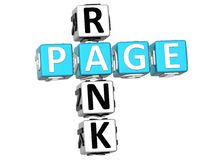 Page Rank Crossword. 3D Page Rank Crossword on white background Stock Photos