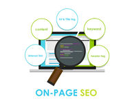 On page seo search engine optimization on-page Stock Images