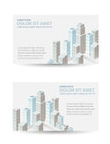 Page. Set template invitations, business cards, flyers on the urban theme. Suitable for real estate agencies and construction and tourism companies stock illustration