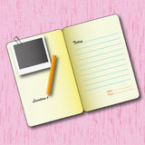 Page sheet. The page sheet  and photo with pencil Royalty Free Stock Photos