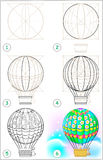Page shows how to learn step by step to draw an air balloon. Stock Photo