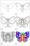 Page shows how to learn step by step to draw a butterfly. Royalty Free Stock Photos