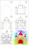 Page shows how to learn step by step to draw a caste. Royalty Free Stock Images