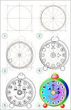 Page shows how to learn step by step to draw clock. Royalty Free Stock Image