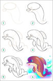 Page shows how to learn step by step to draw a dolphin. Stock Images