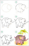 Page shows how to learn step by step to draw an elephant. Vector image. Developing children skills for drawing and coloring. Scale to any size without loss of Royalty Free Stock Photography