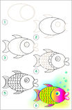 Page shows how to learn step by step to draw a fish. Vector image. Developing children skills for drawing and coloring. Scale to any size without loss of Stock Photography