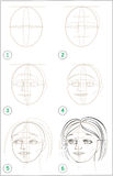 Page shows how to learn step by step to draw girls head. Stock Image