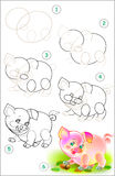 Page shows how to learn step by step to draw little pig. Stock Photography