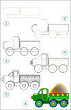Page shows how to learn step by step to draw lorry. Vector image. Developing children skills for drawing Royalty Free Stock Photography