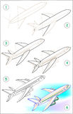 Page shows how to learn step by step to draw a plane. Stock Image