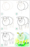 Page shows how to learn step by step to draw a sheep. Stock Photo