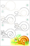 Page shows how to learn step by step to draw a snail. Vector image. Developing children skills for drawing and coloring. Scale to any size without loss of Stock Photography