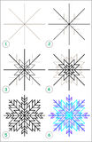 Page shows how to learn step by step to draw a snowflake. Royalty Free Stock Photography