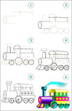 Page shows how to learn step by step to draw a steam locomotive. Stock Photography